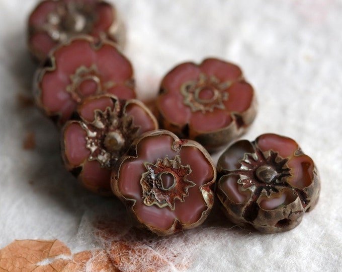 SALMON PINK PANSY No. 1 .. 6 Premium Picasso Czech Glass Flower Beads 10mm (7069-6)