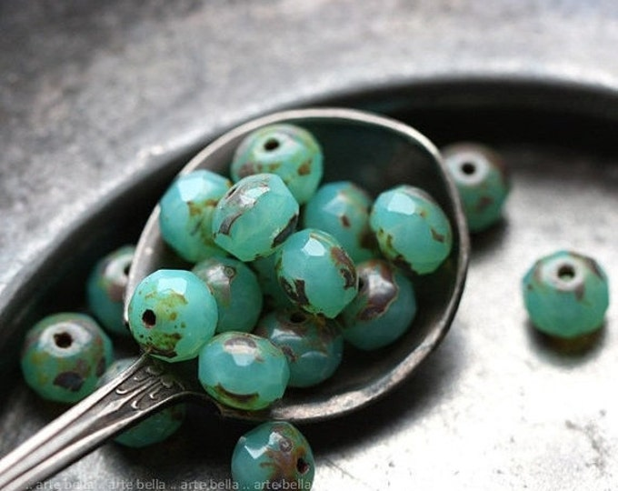 sale .. COASTAL PEBBLES .. 10 Premium Picasso Czech Glass Rondelle Beads 7x5mm (4023-10)