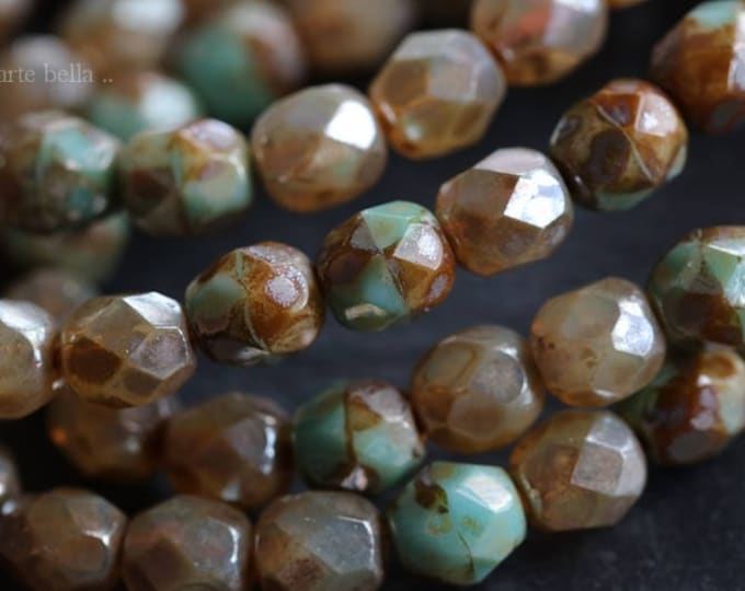CASHMERE MIX 6mm .. 25 Picasso Czech Faceted Glass Beads 6mm (6045-st)