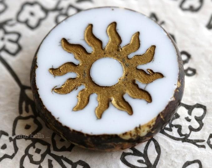 BRONZED WHITE RAYS .. 1 Premium Picasso Czech Glass Sun Coin Bead 22mm (7626-1)