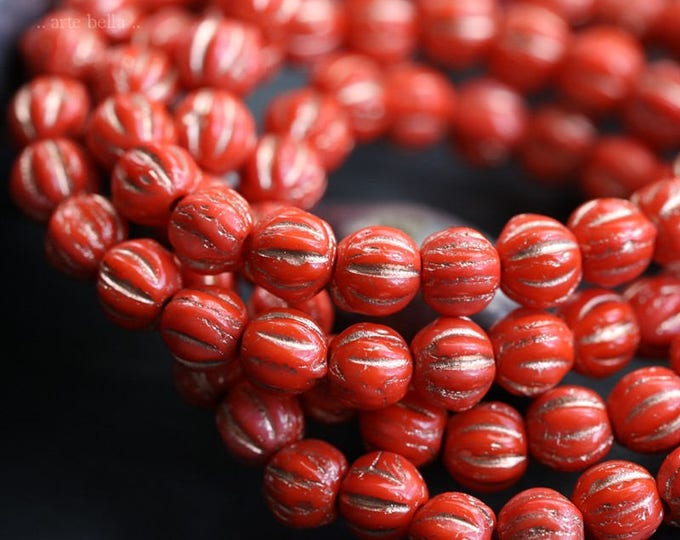 GILDED CORAL MELONS .. 50 Picasso Czech Melon Beads 4mm (6125-st)