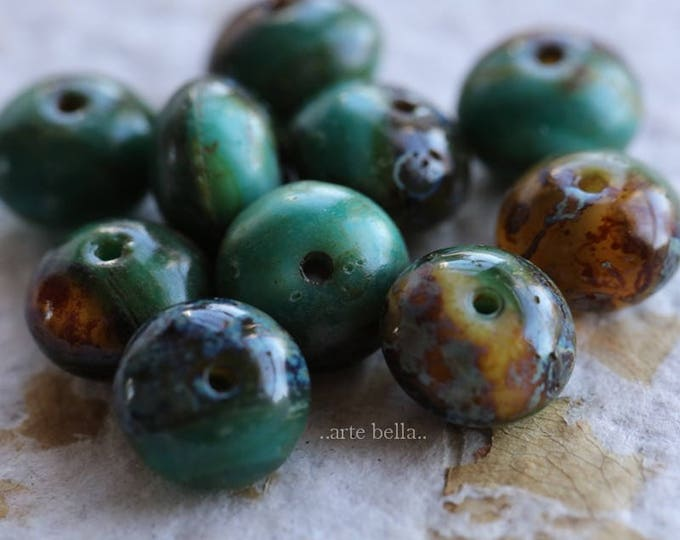 JUNGLE .. 10 Premium Picasso Czech Glass Beads 6x9mm (6156-10)