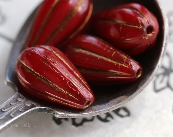 BRONZED CHERRY MELON Drops .. 10 Premium Picasso Czech Glass Melon Drop Beads 13x8mm (7425-10)