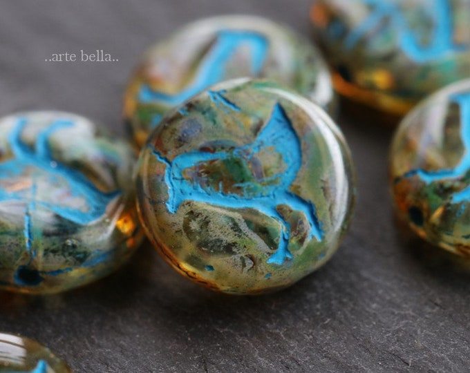 AMBER LIL' CHICKS .. 10 Premium Picasso Czech Glass Coin Beads 12mm (6273-10)