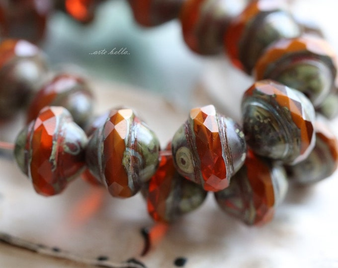 ORANGE BLISS No. 2 .. 10 Premium Picasso Czech Glass Saturn Beads 8x10mm (5156-10)