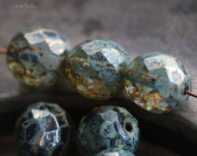 sale .. SILVERED SAPPHIRE POPS .. 6 Premium Picasso Czech Glass Faceted Round Beads 10mm (6130-6)