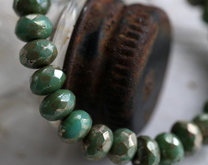 SILVERED TEAL BABIES .. New 30 Premium Picasso Czech Rondelle Beads 3x5mm (6839-st)