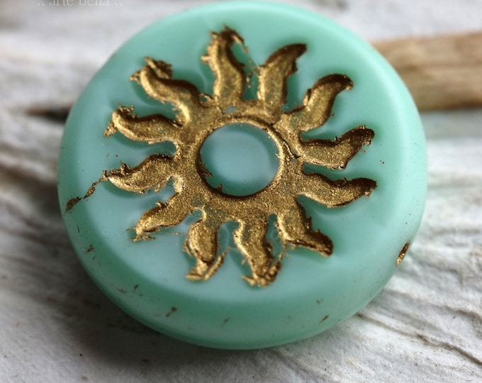 Matte GOLDEN MINT RAYS .. 1 Premium Picasso Czech Glass Sun Coin Bead 22mm (6953-1)
