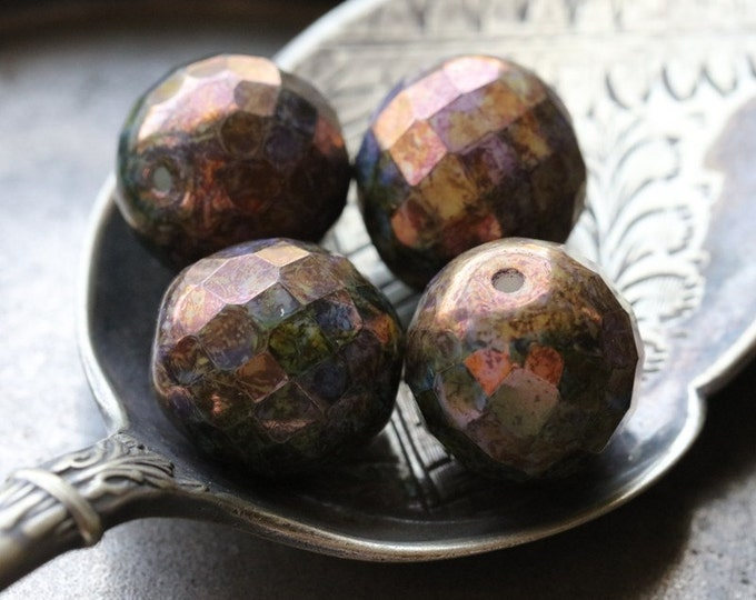 BRONZE PLUM PLUMPS No. 1 .. 4 Premium Picasso Czech Glass Round Beads 13-14mm (4701-4)