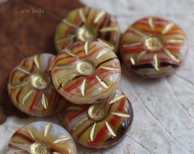 last ones .. GOLDEN AUTUMN DAISY .. 4 Premium Czech Glass Daisy Coin Beads 12mm (7386-4)