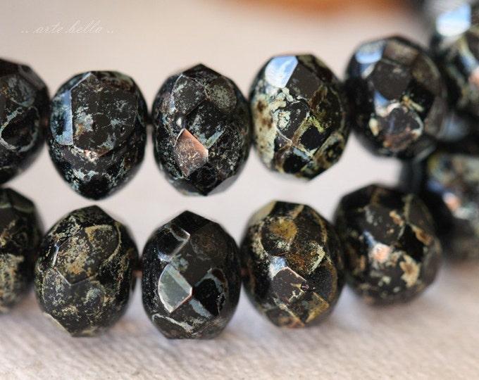 BLACK SEA .. 10 Premium Picasso Czech Black Rondelle Glass Beads 6x8-9mm (04-10)