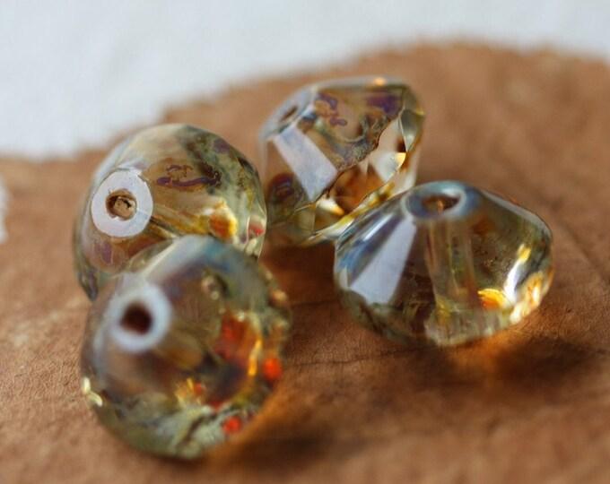 WICKED .. 4 Premium Picasso Czech Glass Rivoli Bead 13x10mm (2331-4)
