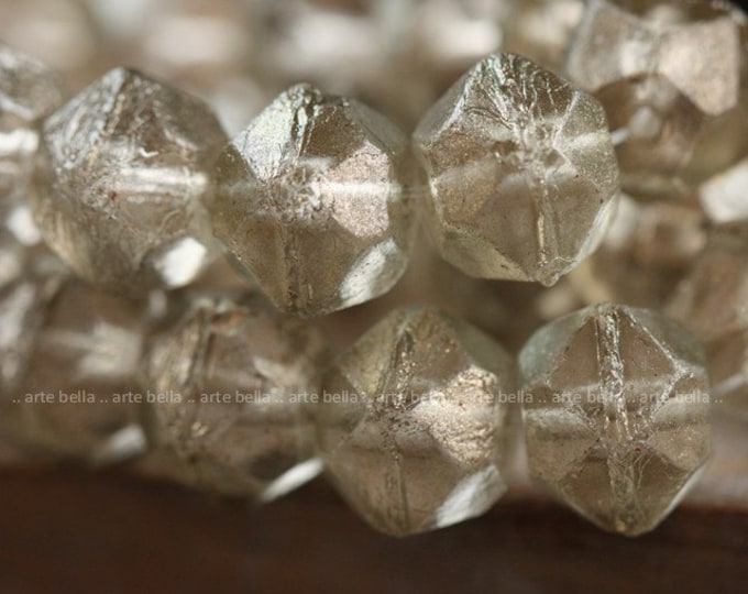 last ones .. CHARDONNAY FROST .. 10 Premium Luster Picasso Czech Glass English Cut Beads 10x9mm (4007-10)