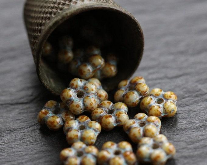 BLUE CREAM VINCA .. 50 Premium Picasso Czech Glass Flower Spacer Beads 5mm (6345-st)