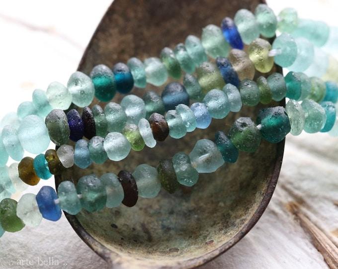 ANCIENT ROMAN GLASS No. 463 .. Genuine Ancient Roman Glass Rondelle Bead Strand (rg-463)