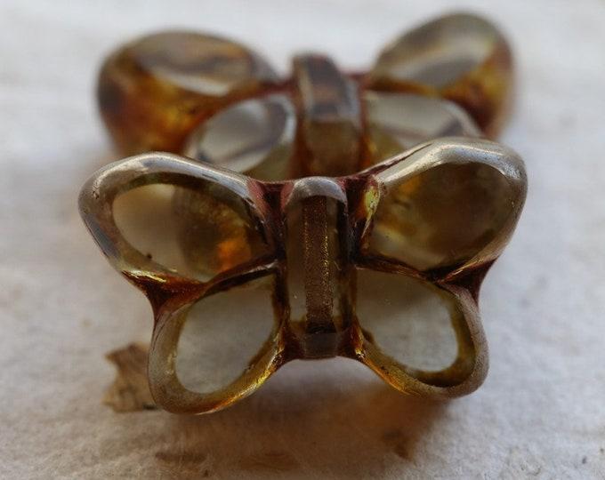 GRAY MIST FLUTTERS No. 2 .. 2 Premium Picasso Czech Glass Butterfly Beads 19x11mm (7681-2)