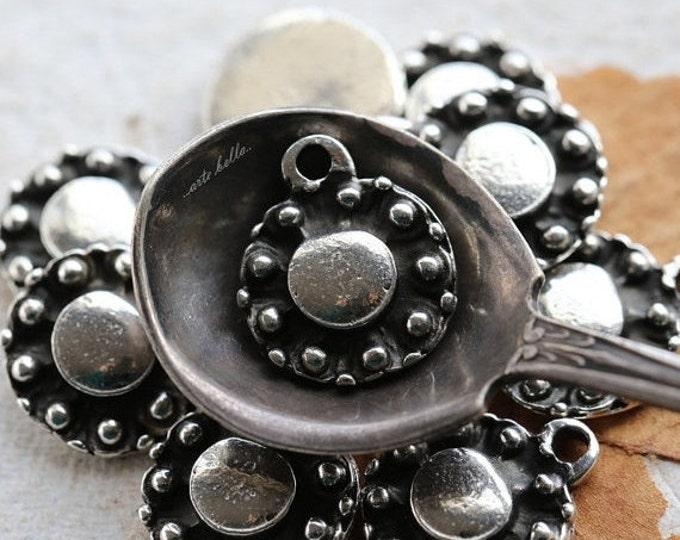 DECO DROP No. 84 .. 2 Mykonos Greek Round Charm Beads 14x17mm (M84-2)