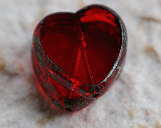 RED HEARTS .. 2 Premium Picasso Czech Glass Heart Beads 16mm (6370-2)