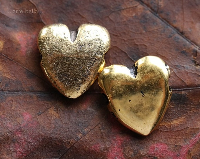 ANTIQUE GOLD PUFFY Heart No. 220 .. 2 Mykonos Greek Puffy Heart Pendant Charm Bead 14x15mm (M220-2)