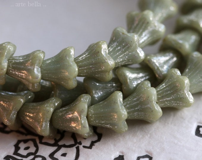 SILVERED SAGE BABY Bells .. 30 Premium Czech Glass Bell Flower Bead 5x6mm (6873-st)