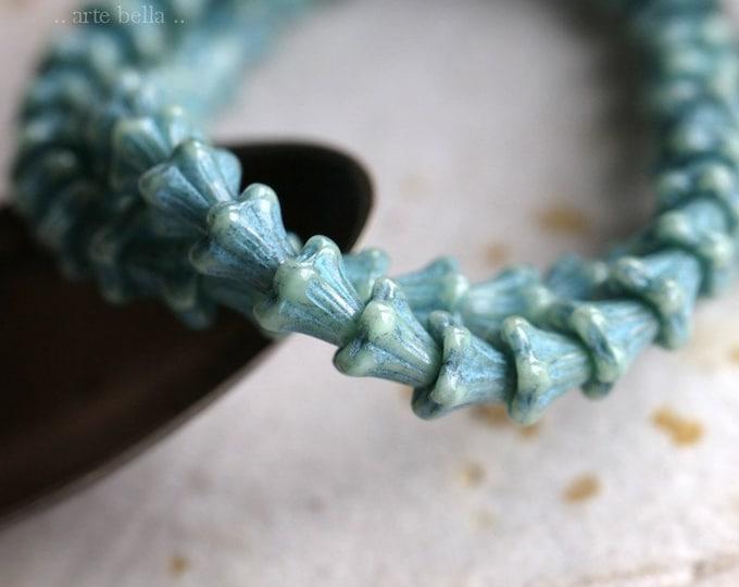 SLATE BLUE BABY Bells .. 30 Premium Czech Glass Bell Flower Bead 5x6mm (7252-st)