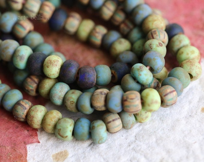 """RAIN FOREST SEEDS No. 7081 .. 20"""" Premium Picasso Czech Matte Etched Glass Aged Striped Seed Bead Mix Size 5 (7081-st)"""