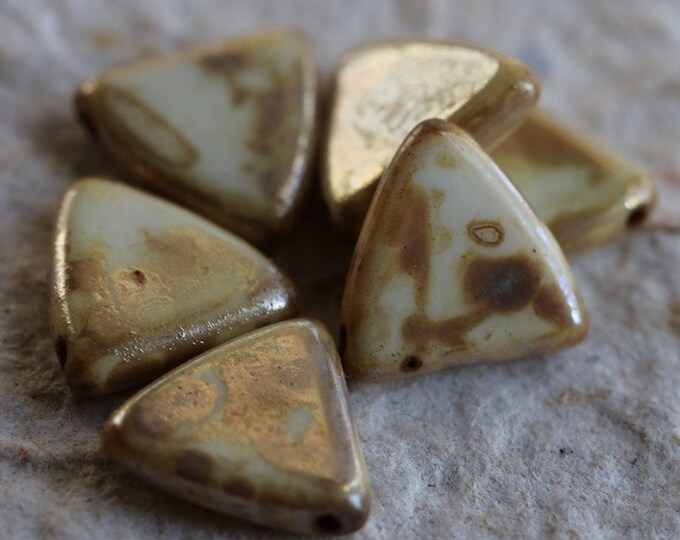 sale .. IVORY SHIELDS .. 6 Premium Picasso Czech Glass Triangle Shield Beads 13mm (6799-6)