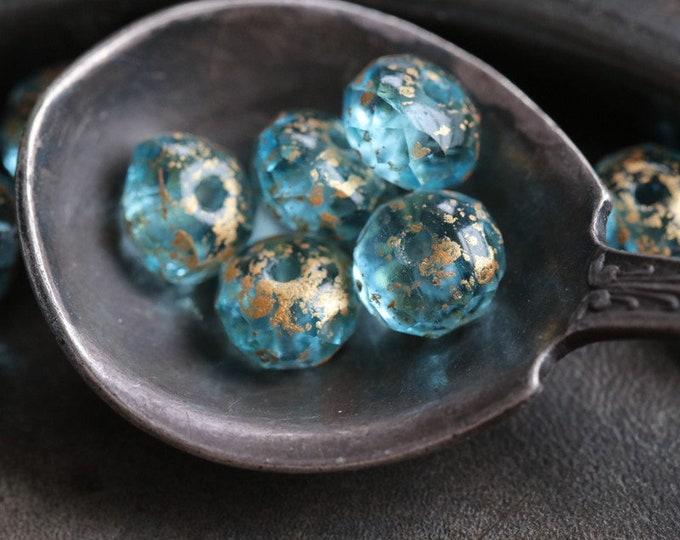 GOLDEN AQUA PEBBLES .. 10 Premium Picasso Czech Glass Rondelle Beads 5x7mm (7058-10)