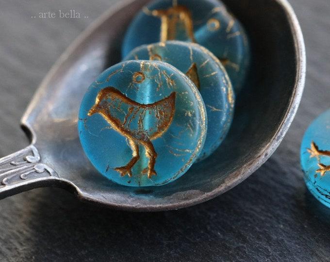 AQUA LIL' CHICKS .. 10 Premium Picasso Czech Matte Glass Coin Beads 12mm (6852-10)