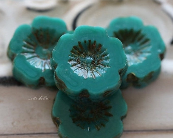 last one .. TEAL PANSY No. 2 .. 4 Picasso Czech Glass Flower Beads 13-14mm (5320-4)