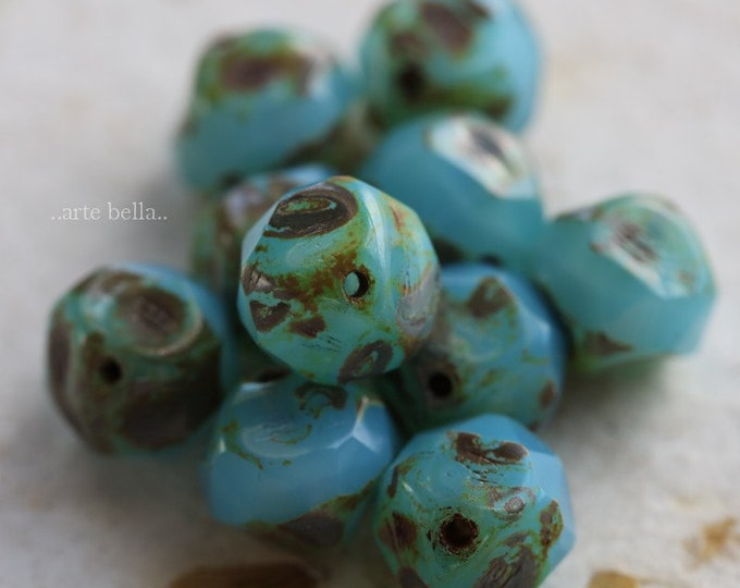 sale .. BAROQUE LAGOON No. 2 .. 10 Premium Picasso Czech Baroque Glass Beads 7.5-8mm (3224-10)