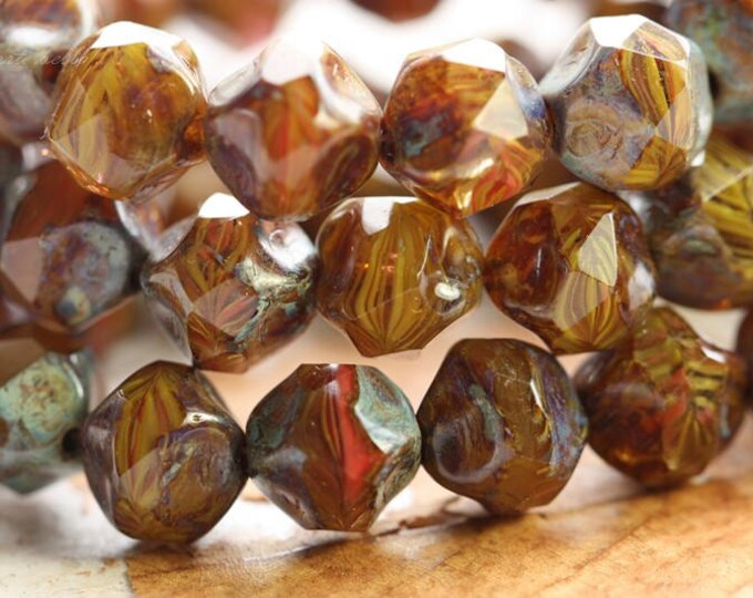 AUTUMN NUGGETS .. 15 Premium Picasso Czech Glass Baroque Beads 9mm (B7000-st)