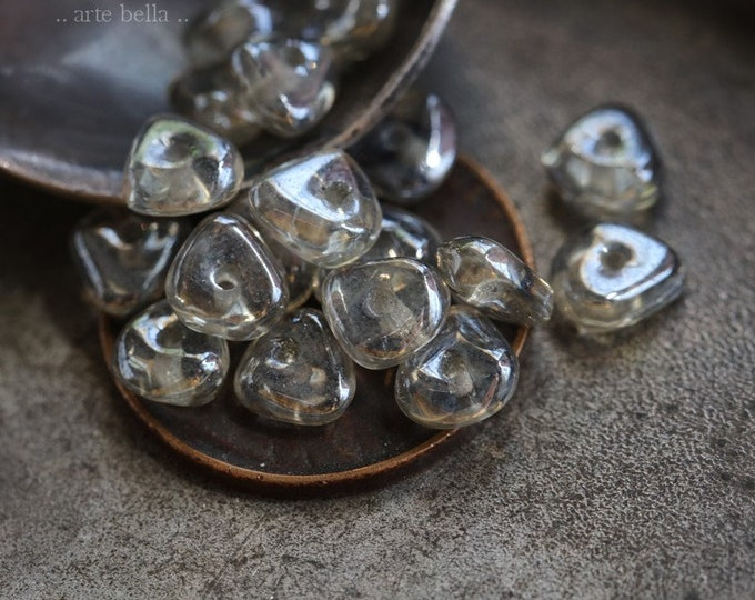 SILVERED CHIPS .. 20 Fire Polished Czech Glass Chip Beads 3x6mm (7366-20)