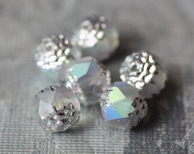 SMASHING .. 6 Premium Aurora Borealis Czech Glass Lantern Beads 8mm (1320-6)