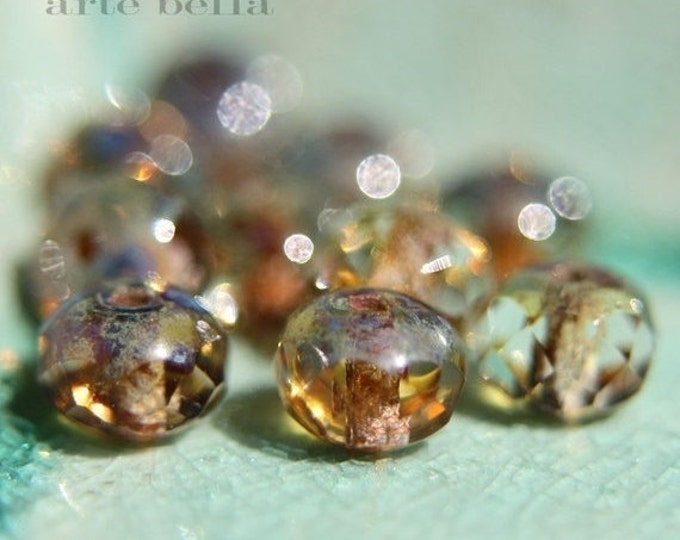 BABY WHISPERS .. 10 Premium Picasso Czech Rondelle Glass Beads 5x7mm (562-10)