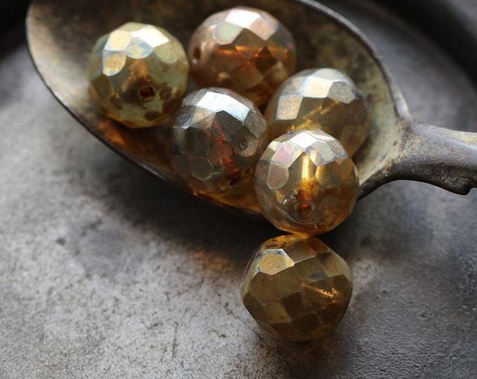 CASHMERE .. 6 Premium Picasso Czech Opal Glass Beads 11-12mm (2306-6)