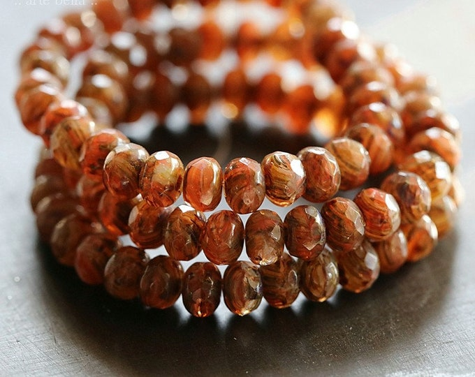EARTHY AUTUMN BABIES .. New 30 Premium Picasso Czech Glass Faceted Rondelle Beads 3x5mm (8360-st)