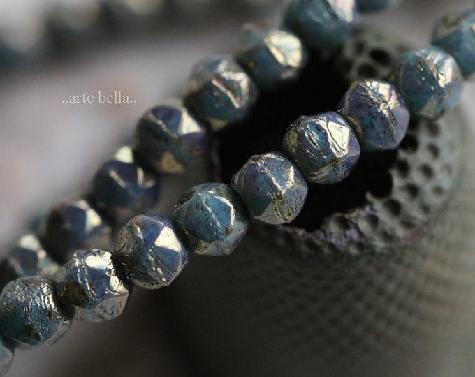 TURQUOISE SPARX .. 50 Premium Picasso Czech Faceted Beads 3mm (4812-st)