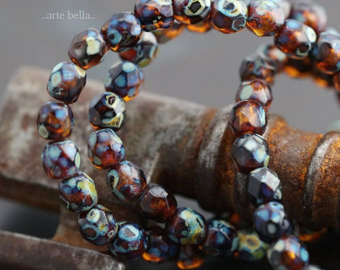 AMBER PICASSO BITS .. 50 Premium Picasso Faceted Czech Glass Beads 3mm (6016-st)
