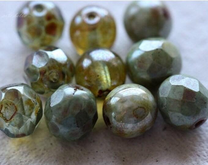 FOREST MIX .. 10 Premium Picasso Glass Czech Bead Mix 8mm (4562-10)