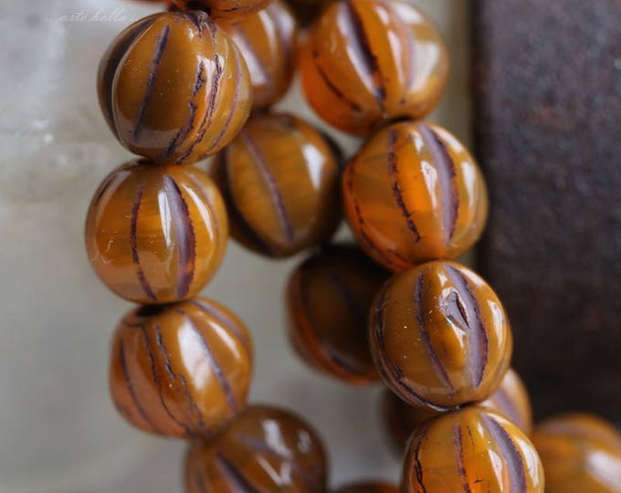 ROASTED MELONS No. 1 .. 25 Premium Picasso Czech Glass Melon Beads 6mm (5783-st)
