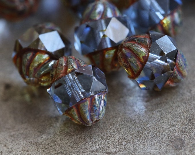 SAPPHIRE TWIST .. NEW 10 Premium Picasso Czech Glass Twisted Central Cut Beads 10x8mm (7284-10)