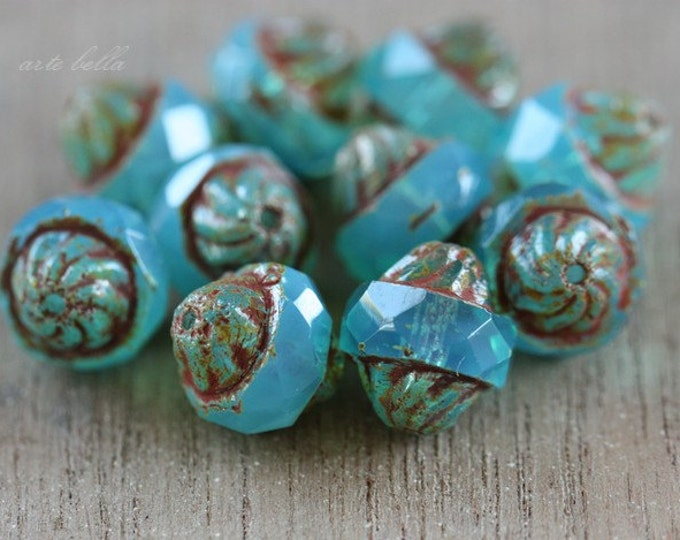 TWISTED SKY OPALS .. 10 Premium Picasso Czech Glass Turbine Beads 11x10mm (3710-10)