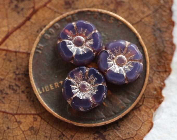 PINK GRAPE PANSY 7mm .. New 10 Premium Platinum Czech Glass Hibiscus Flower Beads (7961-10)