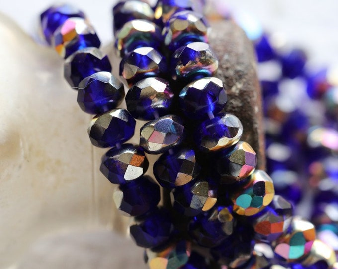 MYSTIC COBALT BABIES .. 30 Premium Czech Glass Faceted Rondelle Beads 3x5mm (8078-st)