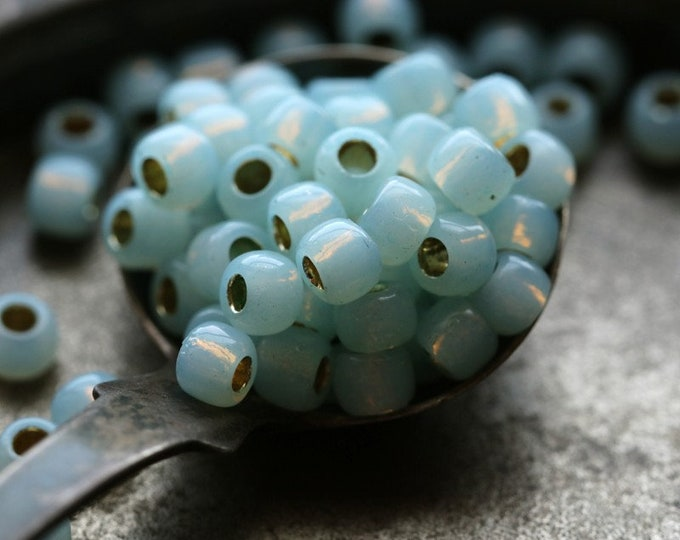 LIGHT AQUA OPAL Seeds .. 100 Japanese Toho Glass Seed Bead Size 6/0 (7241-100)