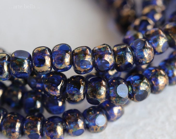 GOLDEN SAPPHIRE SEEDS .. New 50 Premium Picasso Czech Glass Trica Seed Bead Size 6/0 (7566-st)