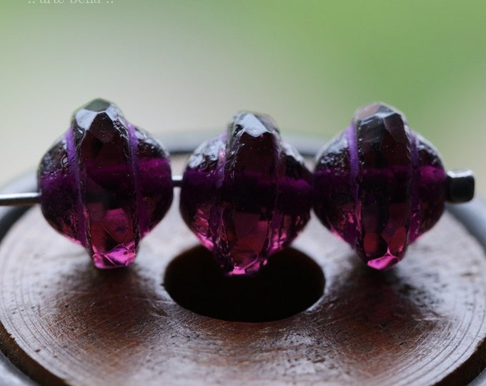 ETCHED VIOLET BLISS .. 10 Premium Picasso Czech Glass Saturn Beads 8x10mm (8251-10)