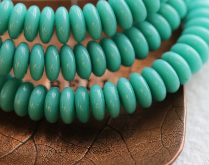 SIMPLY TURQUOISE DISC .. New 50 Premium Czech Glass Disc Spacer Beads 6x2mm (8038-st)