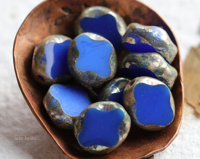 COBALT DIAMOND WINDOWS .. 10 Premium Metallic Picasso Czech Glass Beads 9x8mm (8335-10)